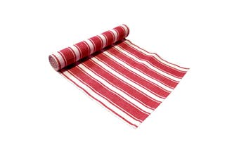 Ribbed Pattern Table Runner Panama Narrow Red by IDC Homewares