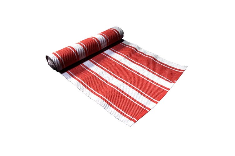Ribbed Pattern Table Runner Panama Wide Red by IDC Homewares