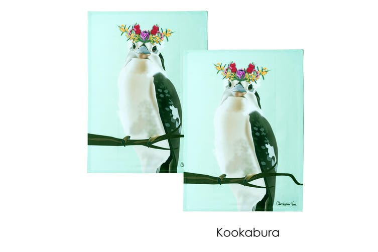 Set of 2 Christopher Vine Design Tea Towels Kookaburra by IDC Homewares