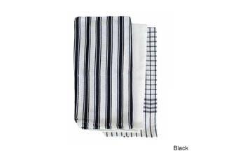 Set of 3 Gardenia Cotton Tea Towels Black by IDC Homewares