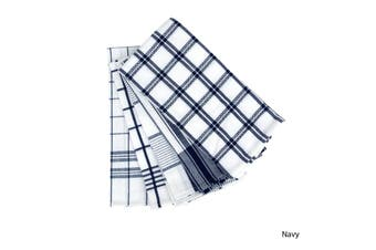 Set of 5 Checkered Cotton Tea Towels Navy by IDC Homewares