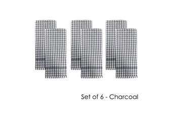 Set of 6 Elly Terry Tea Towels Charcoal by J Elliot Home