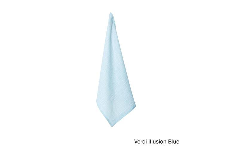 100% Linen Print Tea Towel Verdi Illusion Blue by J Elliot Home