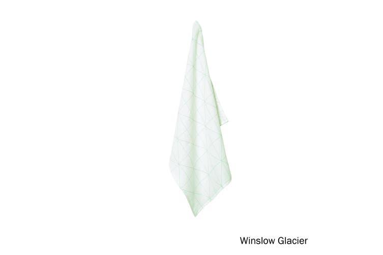 100% Linen Print Tea Towel Winslow Glacier by J Elliot Home