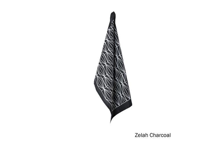 100% Linen Print Tea Towel Zelah Charcoal by J Elliot Home