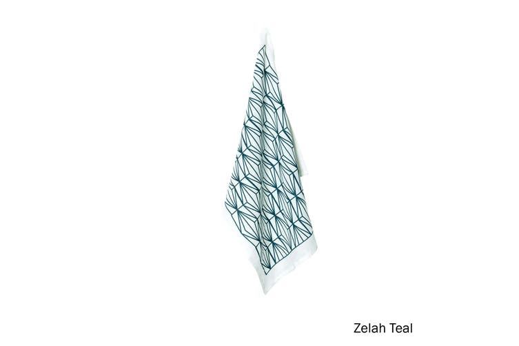 100% Linen Print Tea Towel Zelah Teal by J Elliot Home