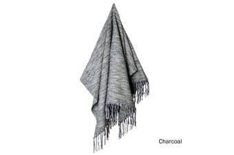 Kili Cotton Acrylic Woven Throw Rug Charcoal by J Elliot Home