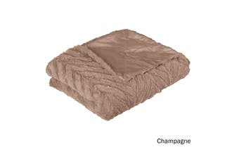 Ottawa Plush Faux Fur Throw Rug Champagne
