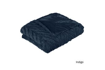 Ottawa Plush Faux Fur Throw Rug Indigo by J Elliot Home