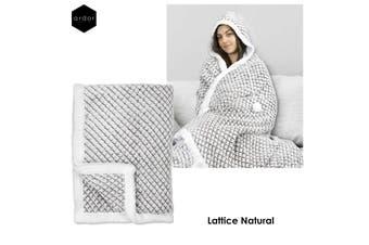 Hooded Faux Fur Blanket Lattice Natural