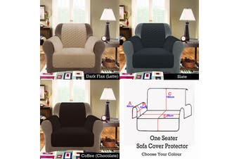 Custom Fit Sofa Cover Protector One Seater Dark Flax (Latte)