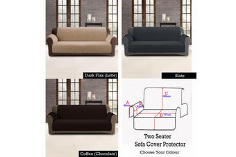 Custom Fit Sofa Cover Protector Two Seater Dark Flax (Latte)