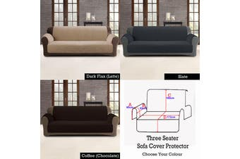 Custom Fit Sofa Cover Protector Three Seater Dark Flax (Latte)