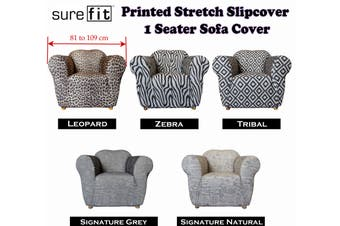 Surefit Printed Stretch Slipcover 1 Seater Couch Cover Zebra