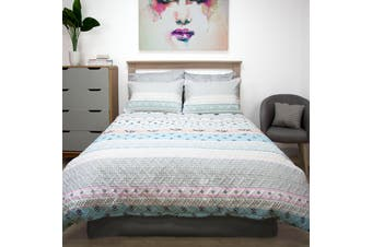 Aztec Quilted Embossed Quilt Cover Set DOUBLE
