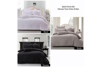Cotton Waffle Quilt Cover Set Granite Single