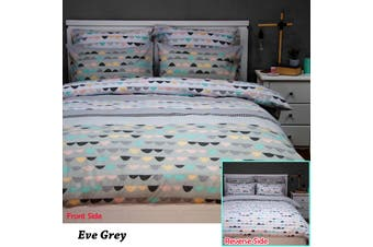 Eve Grey Reversible Quilt Cover Set KING