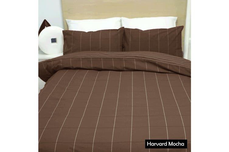 Harvard Mocha Quilt Cover Set - Double