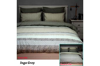 Inga Grey Reversible Quilt Cover Set QUEEN by Apartmento