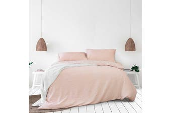 Ingrid Blush Seersucker Stripe Quilt Cover Set Queen
