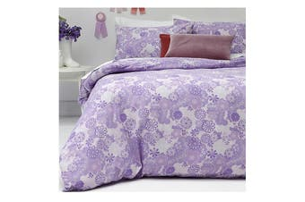 Jessie Lilac Reversible Polyester Cotton Quilt Cover Set by Apartmento