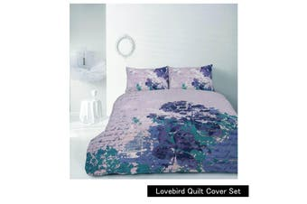 Retro Home Lovebird Purple Quilt Cover Set SINGLE