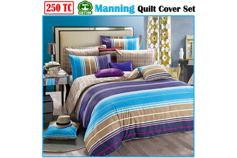 Manning 250TC Cotton Quilt Cover Set KING