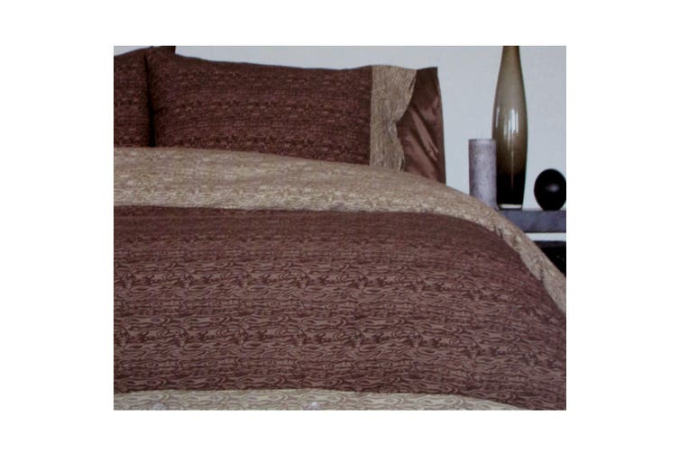 Moray Chocolate Quilt Cover Set Queen