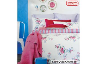 Rose Pink Quilt Cover Set Single