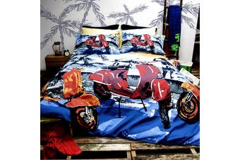 Retro Home Scooter Quilt Cover Set Double