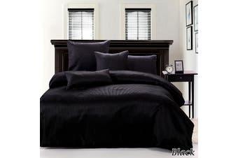 Ardor Boudoir Waffle Black Quilt Cover Set KING