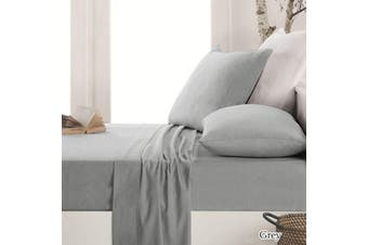 Easy-care Micro Flannelette Sheet Set Grey by Apartmento