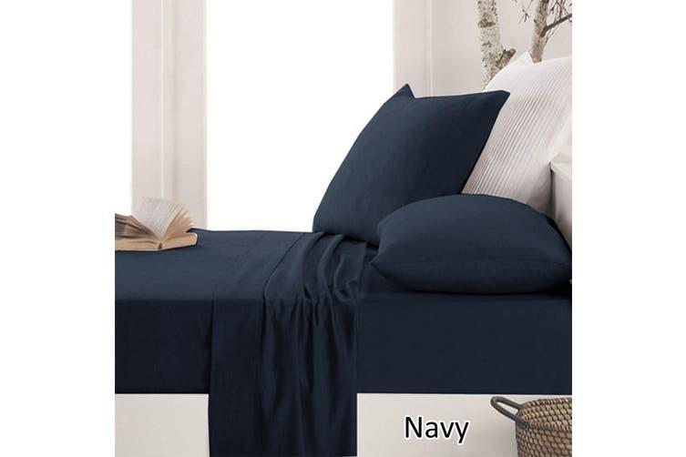 Easy Care Micro Flannelette Sheet Set Navy Double Matt Blatt