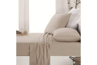 Easy-care Micro Flannelette Sheet Set Taupe by Apartmento