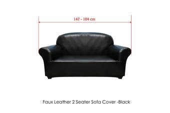 Surefit Couch Cover Two Seater Faux Leather Black