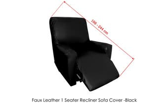 Surefit Couch Cover One Seater Recliner Faux Leather Black