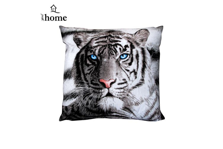 Blue Eyes Stripes Tiger Square Filled Cushion by Just Home
