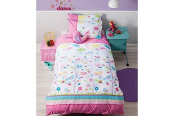 Cubby House Reversible Birdie Tree Quilt Cover Set Single