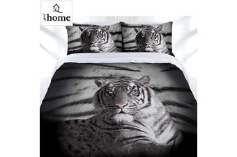 Blue Eyes Stripes Tiger Quilt Cover Set Double by Just Home