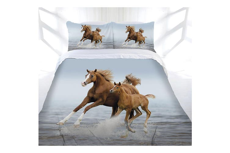 Just Home Frolicking Horse Quilt Cover Set Double