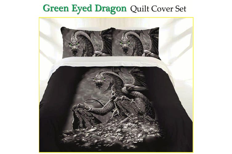 Green Eyed Dragon Quilt Cover Set Double by Just Home