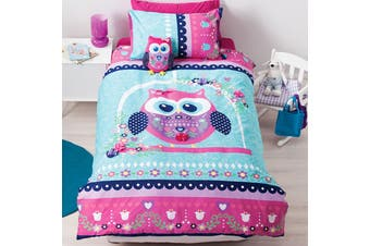 Reversible Pretty Owl Quilt Cover Set Single by Cubby House Kids