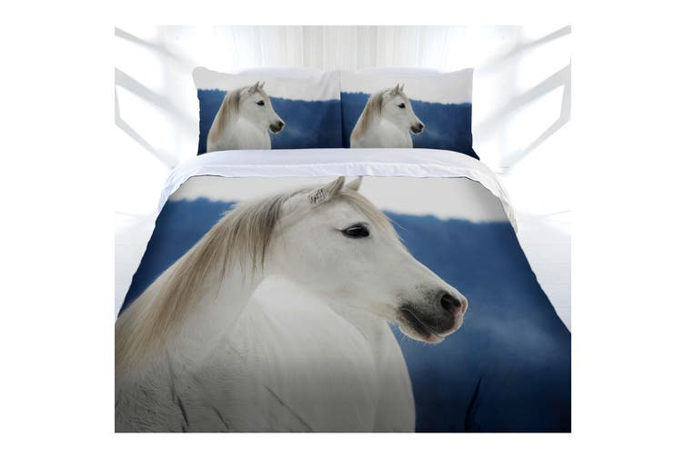 Just Home Snowy Horse Quilt Cover Set Double