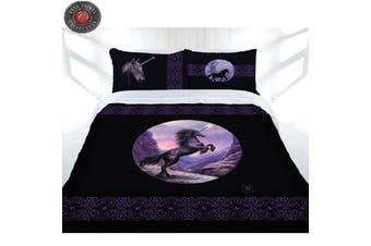 Black Unicorn Quilt Cover Set Double