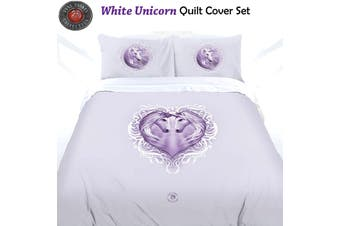Anne Stokes White Unicorn Quilt Cover Set Queen