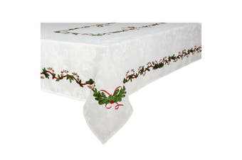 Ornate Christmas Xmas Festival Cotton Tablecloth Oblong 10 Seater 150 x 260 cm