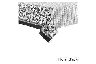 Watercolour Floral Tablecloth 6 to 8 Seater Oblong 150 x 225 cm Black