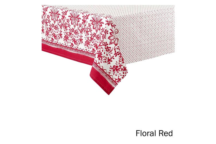 Watercolour Floral Tablecloth 6 to 8 Seater Oblong 150 x 225 cm Red