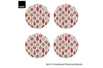 Set of 4 Christmas Hardboard Round Placemats Bauble by Ladelle