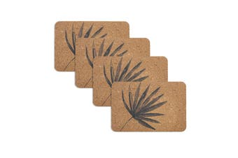 Set of 4 Jade Palm Charcoal Cork Placemats by Ladelle